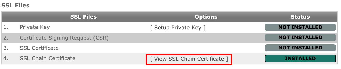 Click on View SSL Chain Certificate to delete it.