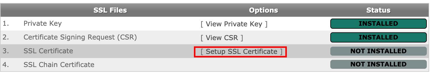Click on Setup SSL Certificate.