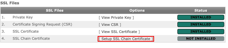 Click on Setup SSL Chain Certificate.